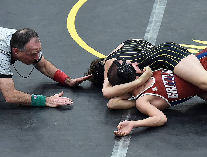 Thompson Valley's Kasey Gault wrestles Northridge's Carey Williams during their 113 pound match Thursday, Jan. 19, 2017, at Thompson Valley High School in Loveland. (Photo by Jenny Sparks/Loveland Reporter-Herald)