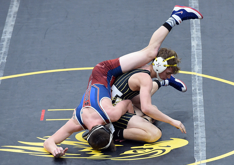 Thompson Valley's Jay McLaughlin wrestles Northridge's Jordan Jackson during their 132 pound match Thursday, Jan. 19, 2017, at Thompson Valley High School in Loveland. (Photo by Jenny Sparks/Loveland Reporter-Herald)
