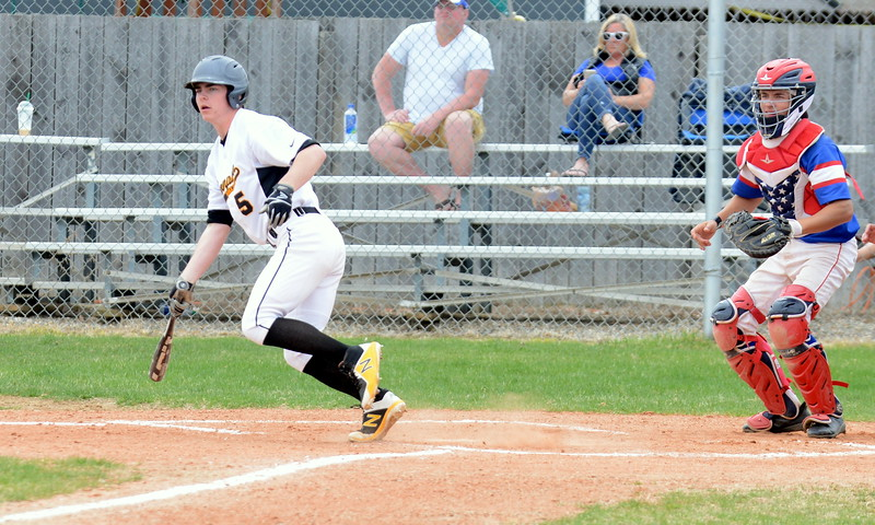 Thompson Valley's Luke Bierman watches in disbelief as Centaurus third baseman Kaden Shephard steals a hit from him to lead off the second inning of Saturday's game with Centaurus at Constantz Field. (Mike Brohard/Loveland Reporter-Herald)