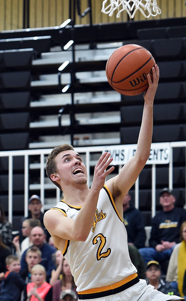 Thompson Valley's #2 Jeremy Wagonmaker goes up for a shot during their game against Greeley Central on Friday, Jan. 20, 2017, at Thompson Valley High School in Loveland. (Photo by Jenny Sparks/Loveland Reporter-Herald)