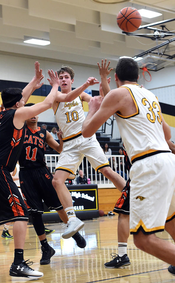 Thompson Valley's #10 Justin Wiersema passes the ball during their game against Greeley Central on Friday, Jan. 20, 2017, at Thompson Valley High School in Loveland. (Photo by Jenny Sparks/Loveland Reporter-Herald)