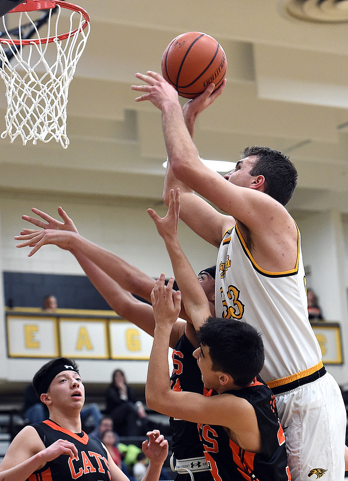 Thompson Valley's #33Jared Kasprzak goes up for a shot during their game against Greeley Central on Friday, Jan. 20, 2017, at Thompson Valley High School in Loveland. (Photo by Jenny Sparks/Loveland Reporter-Herald)