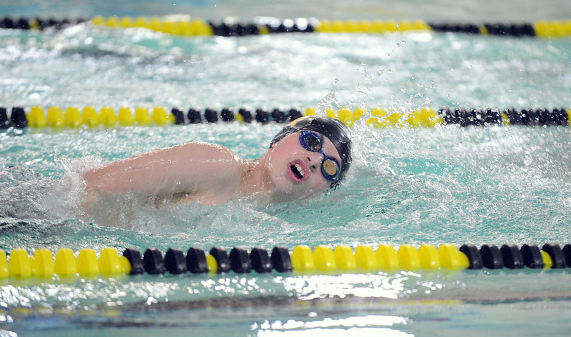Caiden St. Louis of Thompson Valley competes in the 200-yard freestyle during Thursday's Northern Conference dual with Longmont at the Dick Hewson Aquatic Center. (Mike Brohard/Loveland Reporter-Herald)