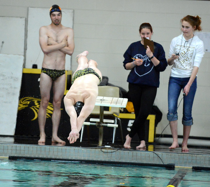 . Thompson Valley\'s Jake Axelson comes off the block at the start of the 50-yard freestyle in Thursday\'s Northern Conference dual with Longmont at the Dick Hewson Aquatic Center. (Mike Brohard/Loveland Reporter-Herald)