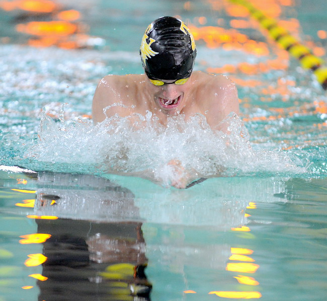 Jaiden Maycroft of Thompson Valley pulls on his way to a win in the 100-yard breaststroke at Thursday's Northern Conference dual with Longmont at the Dick Hewson Aquatic Center. (Mike Brohard/Loveland Reporter-Herald)