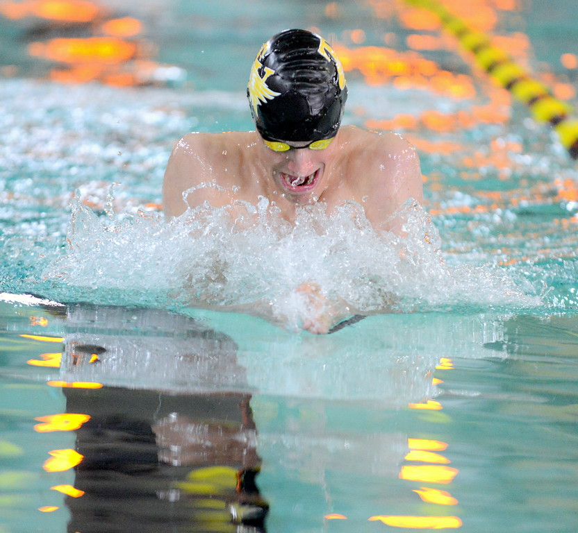 . Jaiden Maycroft of Thompson Valley pulls on his way to a win in the 100-yard breaststroke at Thursday\'s Northern Conference dual with Longmont at the Dick Hewson Aquatic Center. (Mike Brohard/Loveland Reporter-Herald)