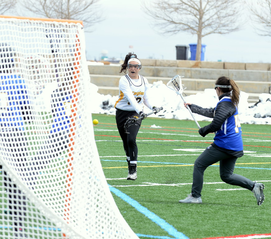 . Thompson Valley\'s Kiara Demare rifles a shot on net during Saturday\'s game with Rampart at Loveland Sports Park. (Mike Brohard/Loveland Reporter-Herald)