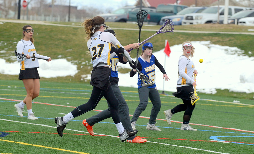 . Thompson Valley\'s Annalise Carr fires off a shot during Saturday\'s game with Rampart at Loveland Sports Park. (Mike Brohard/Loveland Reporter-Herald)