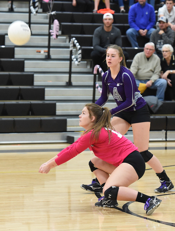 . Mountain View\'s (17) Rylee Severin hits a digger during their game against Thompson Valley Thursday, Oct. 11, 2018, at Thompson Valley school in Loveland. (Photo by Jenny Sparks/Loveland Reporter-Herald)
