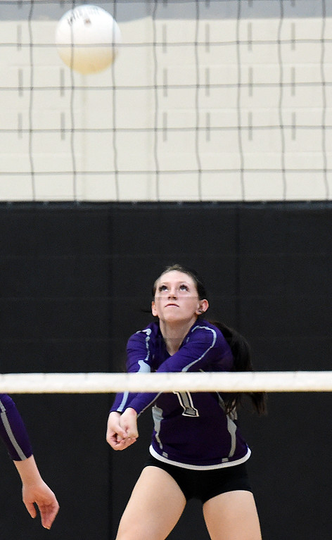 . Mountain View\'s (1) Jasper Morris hits the ball during their game against Thompson Valley Thursday, Oct. 11, 2018, at Thompson Valley school in Loveland. (Photo by Jenny Sparks/Loveland Reporter-Herald)