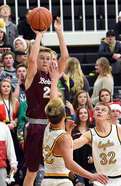 Berthoud's (23) Wyatt Stratmeyer goes up for a shot as Thompson Valley's (22) Hayden Ell and (32) Darren Edwards try to block during their game Tuesday, Dec. 19, 2017, at Thompson Valley in Loveland.   (Photo by Jenny Sparks/Loveland Reporter-Herald)