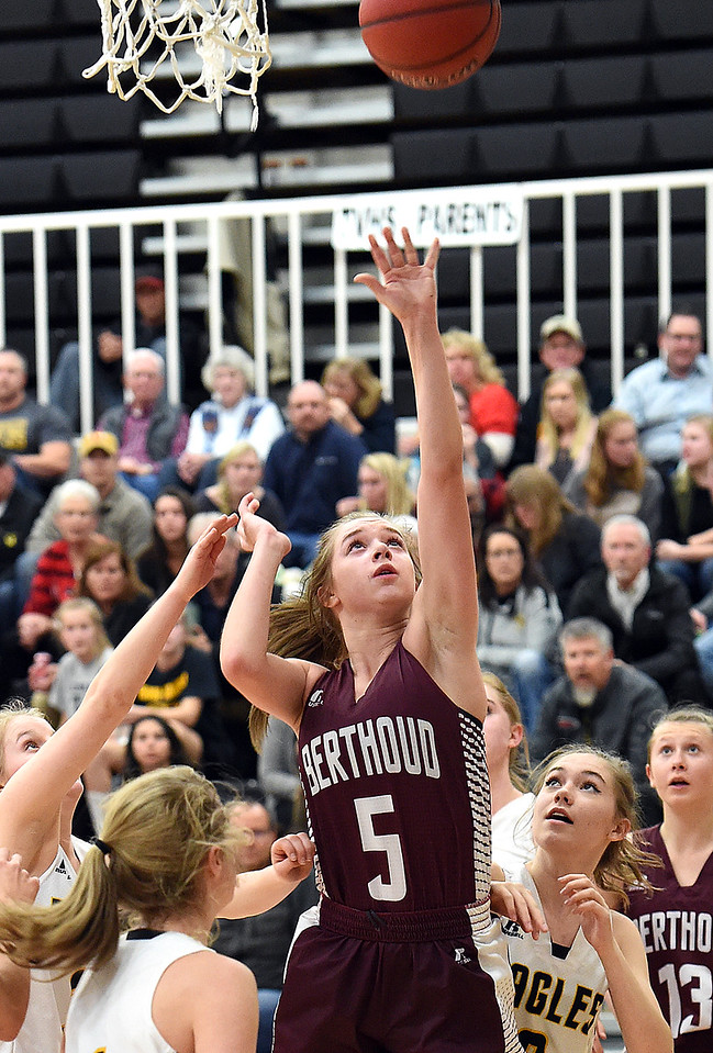 Berthoud's (5) Logan Davidson goes up for a shot during their game against Thompson Valley Tuesday, Dec. 19, 2017, at Thompson Valley in Loveland.   (Photo by Jenny Sparks/Loveland Reporter-Herald)