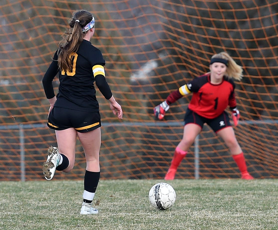 Thompson Valley's (10) Kahrena Thompson heads towards the goal to score during their game against Berthoud on Thursday, March 29, 2018, at Marr Field in Berthoud. (Photo by Jenny Sparks/Loveland Reporter-Herald)
