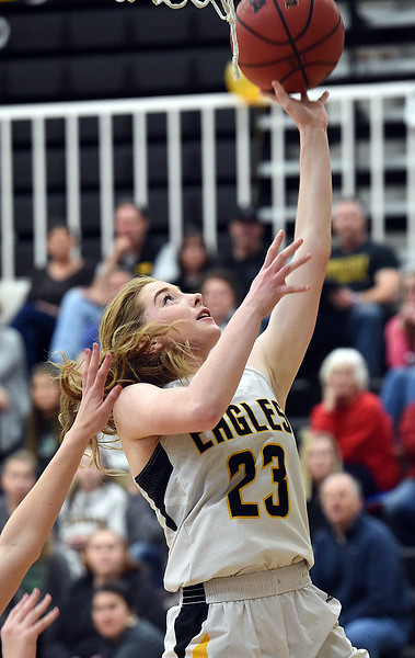 Thompson Valley's Sydnee Durtsche goes up for a shot during their game against Centaurus on Friday, Feb. 15, 2019, at Thompson Valley High School in Loveland.  (Photo by Jenny Sparks/Loveland Reporter-Herald)