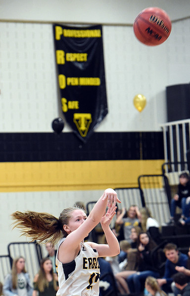 Thompson Valley's Amelaia Solt shoots a three pointer during their game against Centaurus on Friday, Feb. 15, 2019, at Thompson Valley High School in Loveland.  (Photo by Jenny Sparks/Loveland Reporter-Herald)
