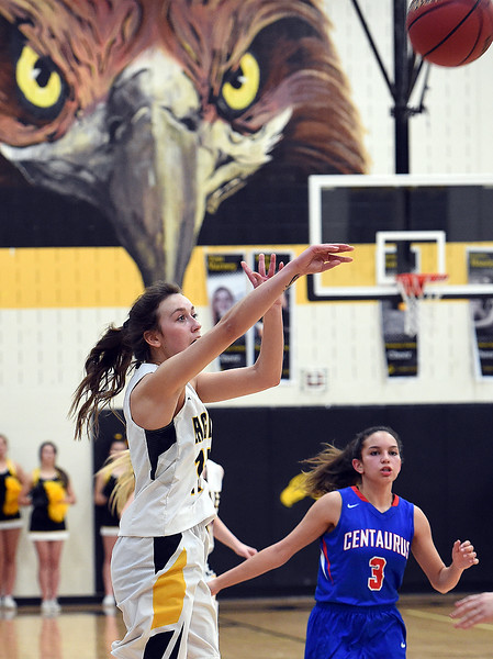 Thompson Valley's Kylie Bowen shoots a three pointer during their game against Centaurus on Friday, Feb. 15, 2019, at Thompson Valley High School in Loveland.  (Photo by Jenny Sparks/Loveland Reporter-Herald)