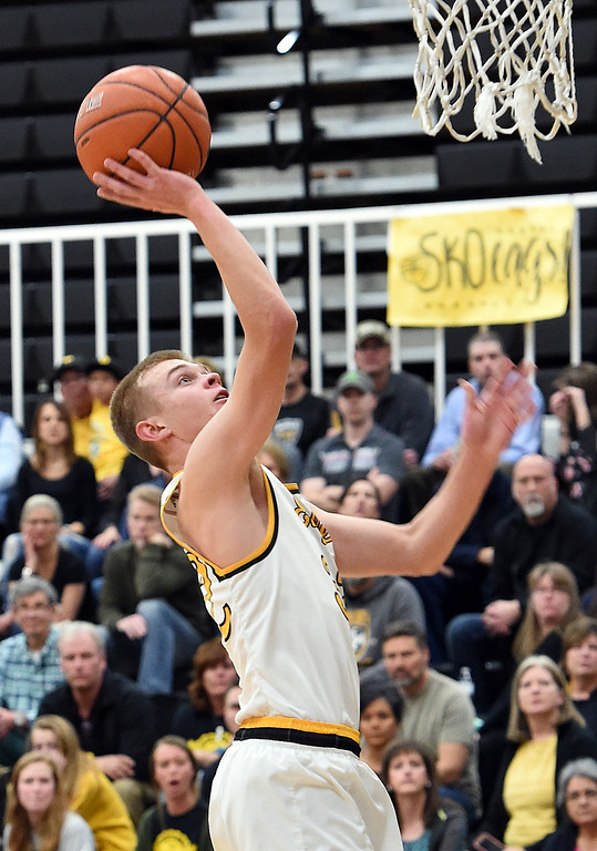 . Thompson Valley\'s (32) Darren Edwards goes up for a shot during their game against Greeley Central Monday, Feb, 12, 2018, at Thompson Valley in Loveland. (Photo by Jenny Sparks/Loveland Reporter-Herald)