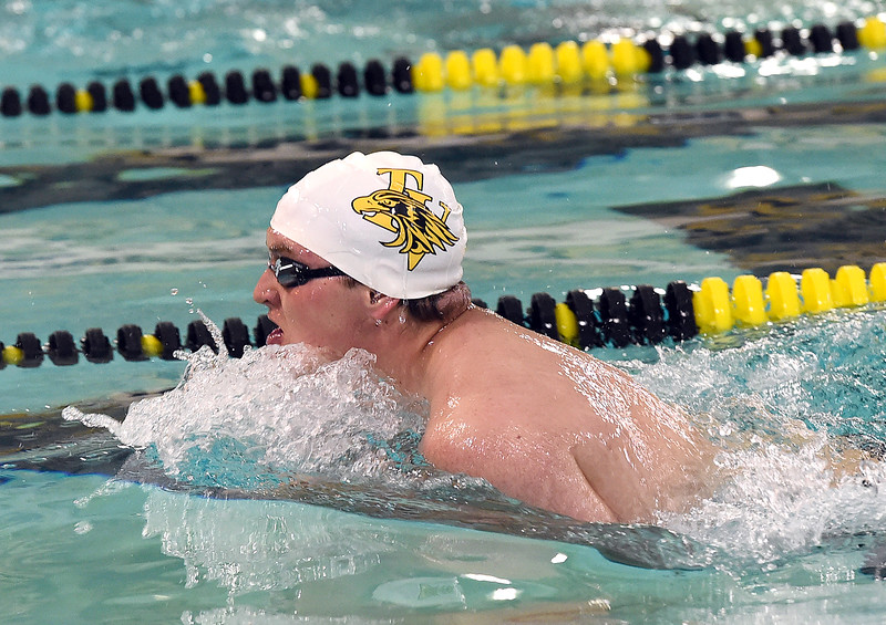 Thompson Valley's Reed Charron swims the 200 individual medley Thursday, April 20, 2017, during their meet against Longmont High School at Thompson Valley in Loveland. (Photo by Jenny Sparks/Loveland Reporter-Herald)