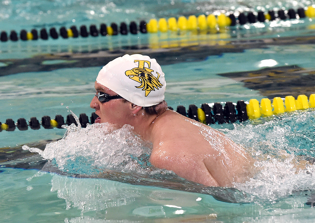 . Thompson Valley\'s Reed Charron swims the 200 individual medley Thursday, April 20, 2017, during their meet against Longmont High School at Thompson Valley in Loveland. (Photo by Jenny Sparks/Loveland Reporter-Herald)