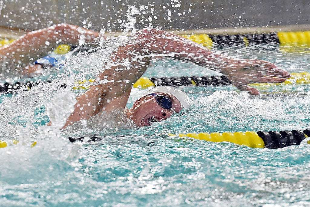 . Thompson Valley\'s Jack Kisch swims 200 freestyle Thursday, April 20, 2017, during their meet against Longmont High School at Thompson Valley in Loveland. (Photo by Jenny Sparks/Loveland Reporter-Herald)