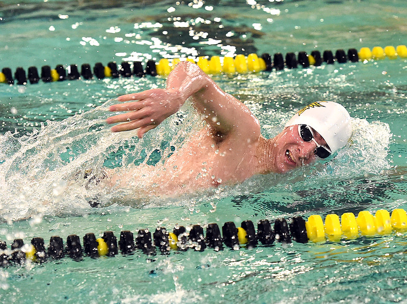 Thompson Valley's Michael Vierra swims the 400 free Thursday, April 20, 2017, during their meet against Longmont High School at Thompson Valley in Loveland. (Photo by Jenny Sparks/Loveland Reporter-Herald)