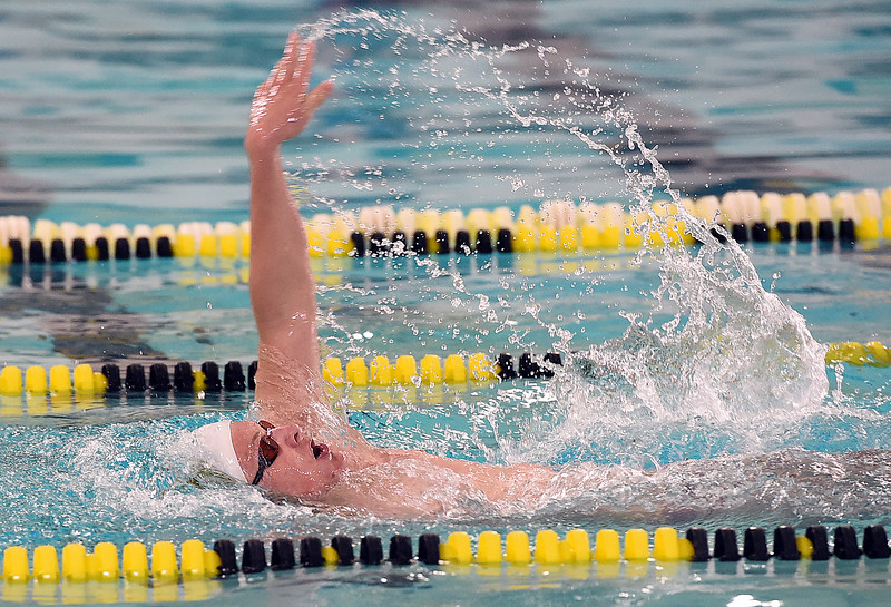 Thompson Valley's Garrett Britt swims the Britt 200 individual medley Thursday, April 20, 2017, during their meet against Longmont High School at Thompson Valley in Loveland. (Photo by Jenny Sparks/Loveland Reporter-Herald)