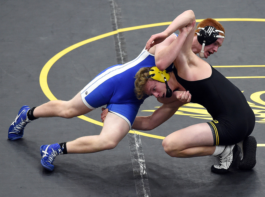 . Thompson Valley\'s Tate Smack wrestles Longmont\'s Aden Tank during their 170-pound match Thursday, Jan. 4, 2017, at Thompson Valley High School in Loveland. Smack won the match.   (Photo by Jenny Sparks/Loveland Reporter-Herald)