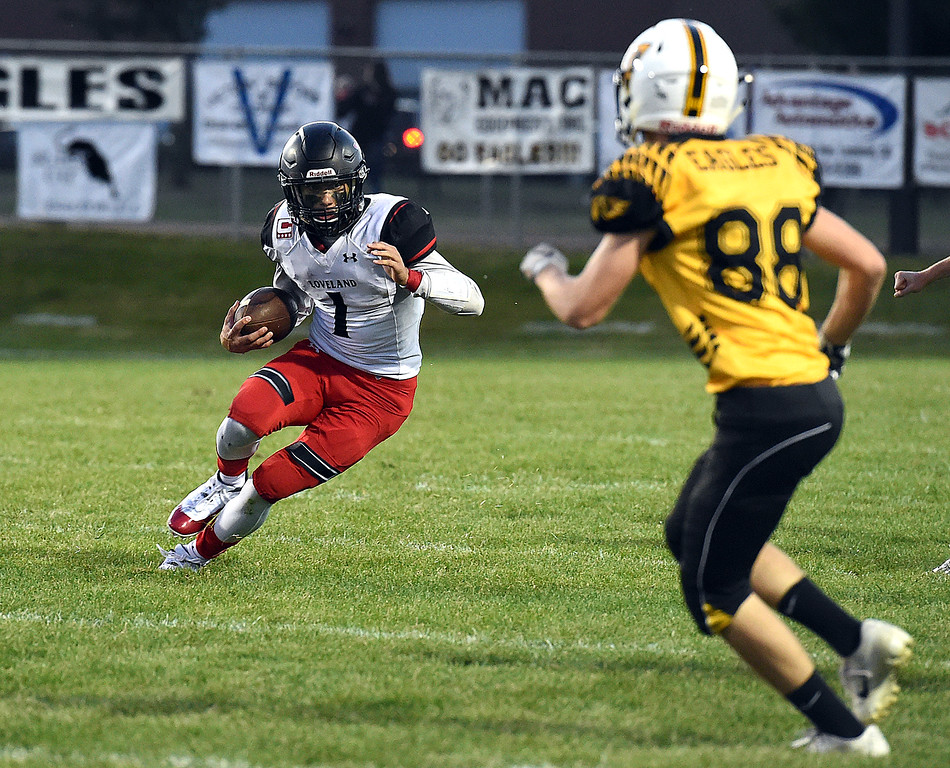 . Loveland\'s (1) Isaiah Meyers takes the ball downfield to score during their game against Thompson Valley Friday, Sept. 7, 2018, at Patterson Stadium in Loveland.  (Photo by Jenny Sparks/Loveland Reporter-Herald) td