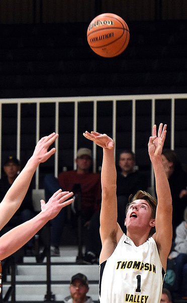 Thompson Valley's Trey Kreikmier shoots a three-pointer during their game against Mead Tuesday, Dec. 11, 2018, at Thompson Valley in Loveland.   (Photo by Jenny Sparks/Loveland Reporter-Herald)