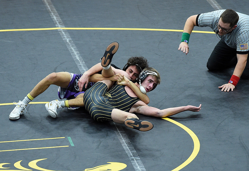 . Mountain View\'s Malachi Contreras wrestles Thompson Valley\'s Airiel Siegel during their 120-pound match Thursday, Jan. 17, 2019, at Thompson Valley High in Loveland.  (Photo by Jenny Sparks/Loveland Reporter-Herald)