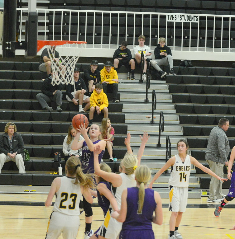 . Mountain View\'s Kelsey Basart goes up for the shot during Tuesday\'s game with Thompson Valley at the TVHS gym. (Mike Brohard/Loveland Reporter-Herald)