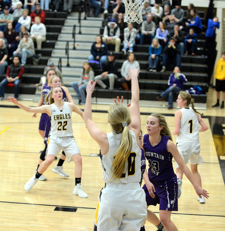 . Thompson Valley\'s Sam McCrimmon shoots from the corner during Tuesday\'s crosstown game with Mountain View at the TVHS gym. (Mike Brohard/Loveland Reporter-Herald)
