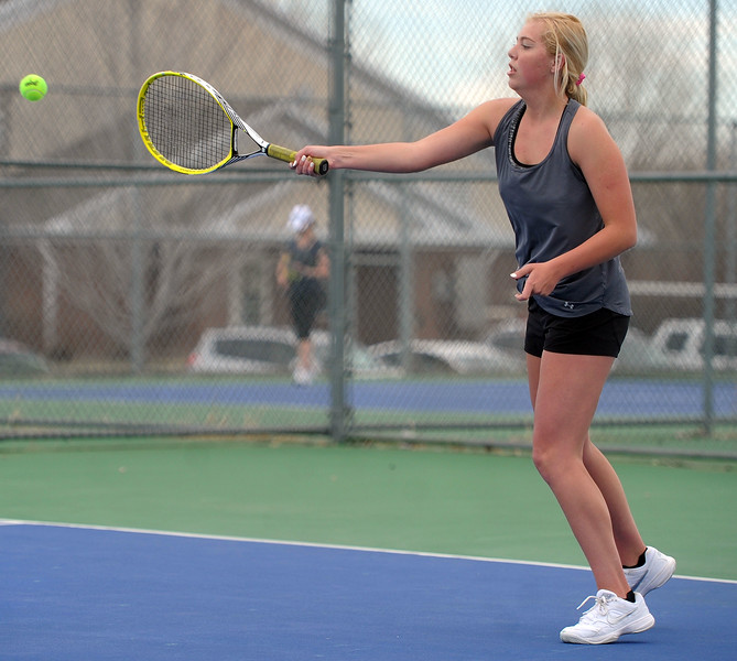 Thompson Valley's Danielle Sobraske nails a forehand in her No. 1 singles match against Mountain View on Thursday, April 4. Thompson Valley won 7-0. (Colin Barnard/Loveland Reporter-Herald)