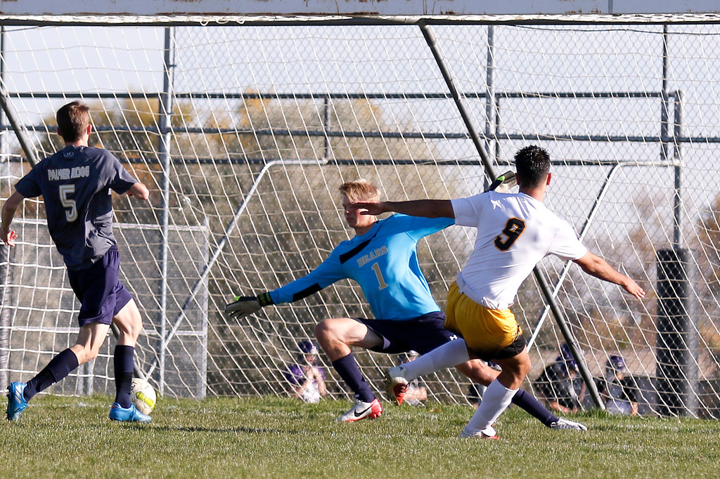 . Thompson Valley�s Pablo Gomez-Cervantes (9) scores a goal against Palmer Ridge as keeper Nathaniel Kugler (1) and Trent Douglas (5) fail to block it at Mountain Valley High School in Loveland on Wednesday, Oct. 18, 2017. (Photo by Lauren Cordova/Loveland Reporter-Herald)
