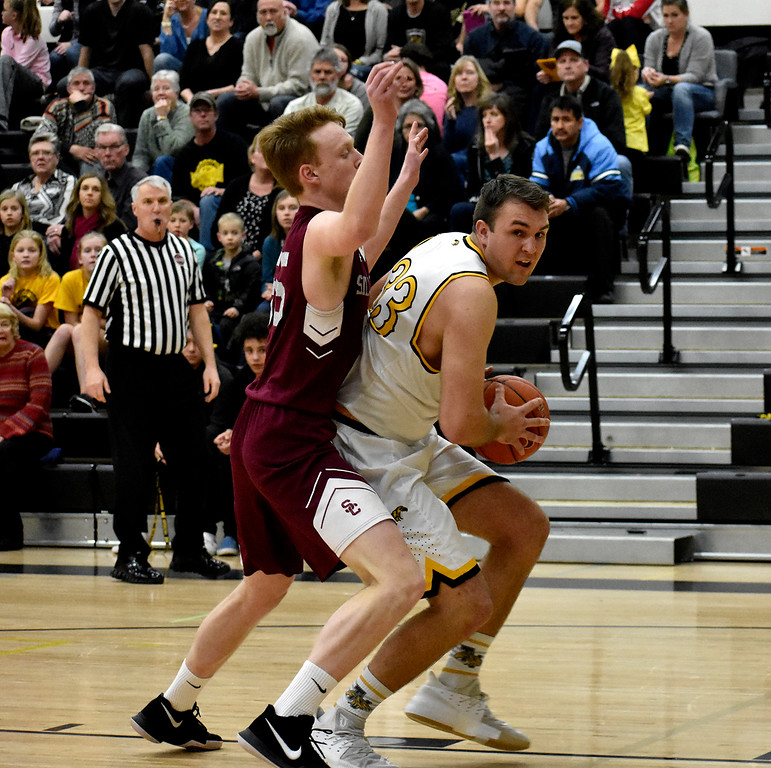Thompson Valley's (33) Jared Kasprzak keeps the ball away from Silver Creek's (55) Erik Grossaint during their game on Tuesday, Feb. 6, 2018 at Thompson Valley High School in Loveland. Photo by Thieng Mai/Loveland Reporter-Herald.