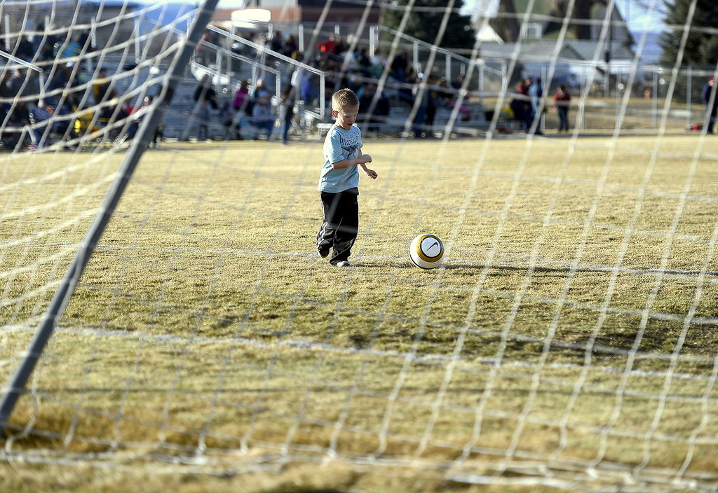 . Easton Washenfelder has the field and the goal all to himself at halftime of Friday\'s match between the Thompson Valley and Windsor girls at the MVHS field. (Mike Brohard/Reporter-Herald)