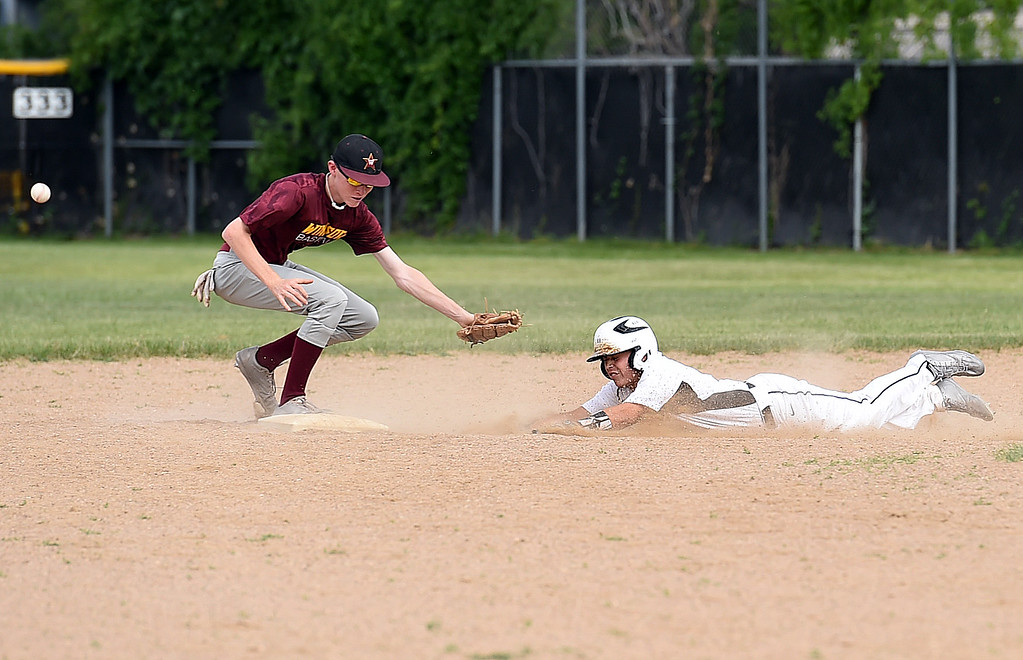 . Thompson Valley\'s Adrian Nava (11) slides in to second base Thursday, June 15, 2017, during their game against Windsor at Constantz Field Loveland.   (Photo by Jenny Sparks/Loveland Reporter-Herald)