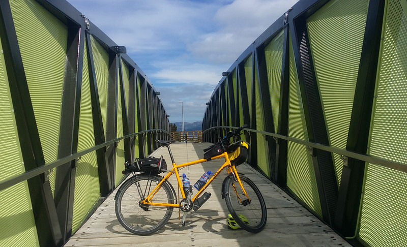 """A nice 90km ride to the very end of the Coast Road, Wainuiomata and return, but I had to stop on the return and explore the new pedestrian and cycle over bridge at the Wainuiomata Hill Summit. Built mainly, I think, for mountain bikers to get entry to the many mountain bike tracks in this area.<br /> <br /> Ride: <a href=""""https://www.strava.com/activities/488520837"""">https://www.strava.com/activities/488520837</a>"""