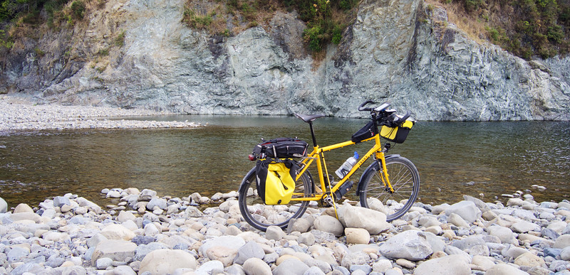 Easy ride today, so time for a photo opp on the Hutt River, near Totara Park.<br /> <br /> Some of the River Anduin scenes in the Lord of the Rings trilogy were filmed very near here. The Fellowship of the Ring travelled down the river in Elven boats.