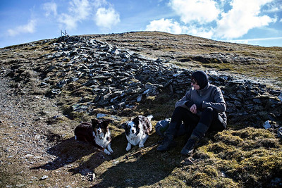 Grisedale PIke : with Kim in a sheltered spot below the summit