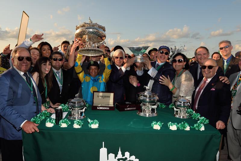 American Pharoah and jockey Victor Espoinoza win the 2015 Belmont Stakes sweeping the Triple Crown.<br /> Photo by: Adam Coglianese/NYRA