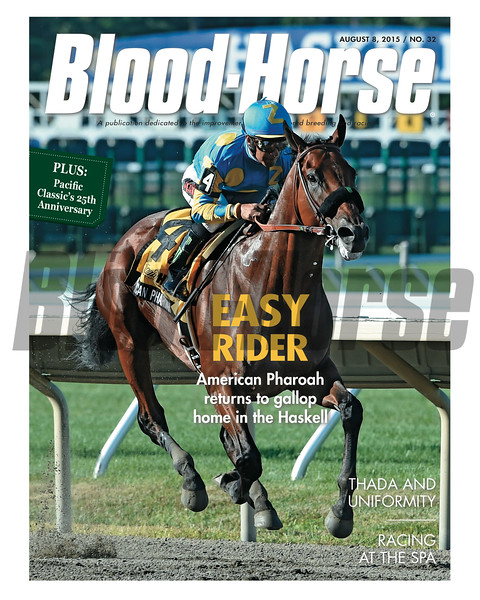 August 8, 2015 Issue 32 cover of the Blood-Horse featuring American Pharoah winning the Haskell Invitational.