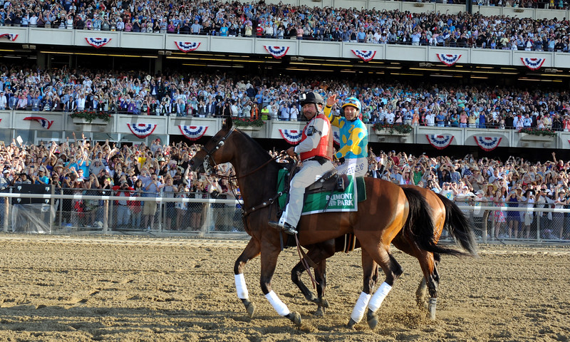 American Pharoah and crowd after winning the Belmont Stakes.<br /> Dave Harmon Photo