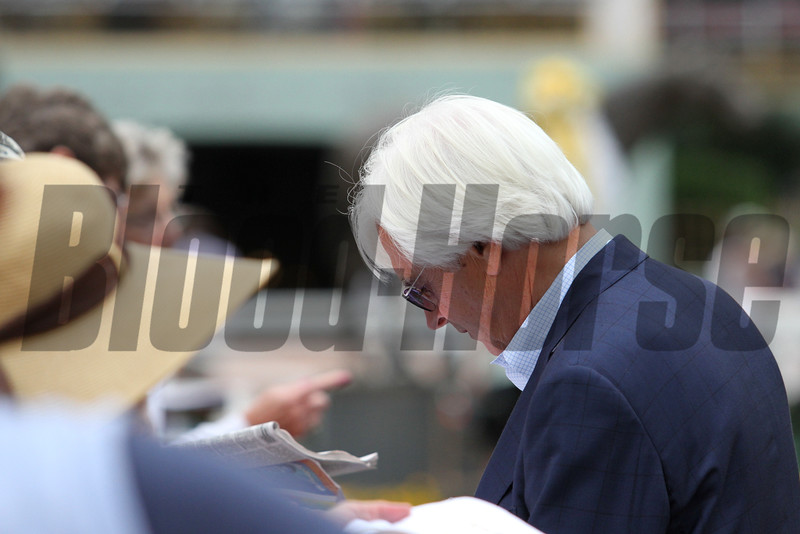 Triple Crown winning trainer BOB BAFFERT, signing autographs for fans who came out to see triple crown winner American Pharoah at Santa Anita 06.27.15. Photo by Helen Solomon