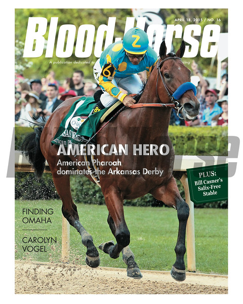 April 18, 2015 Issue 16 cover of the Blood-Horse featuring American Pharoah winning the Arkansas Derby at Oaklawn Park.