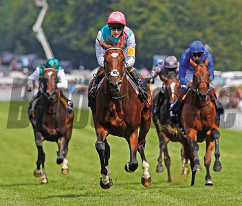 Goodwood Sussex Stakes, August 1, 2012 Frankel ridden by Tom Quealy wins by six lengths from Farhh (blue)