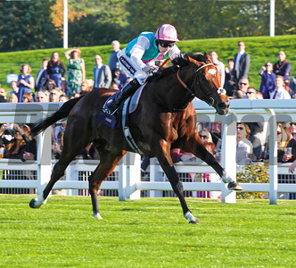 ASCOT SAT 15 OCT 2011    PIC: CAROLINE NORRIS FRANKEL AND TOM QUEALLY (PINK CAP) HIT THE FRONT A FURLONG AND A HALF FROM HOME TO WIN THE QUEEN ELIZABETH 11 STAKES