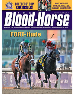 November 10, 2012 Issue 46 Cover of The Blood-Horse featuring Fort Larned defeating Mucho Macho Man in the Breeders' Cup Classic.  © The Blood-Horse
