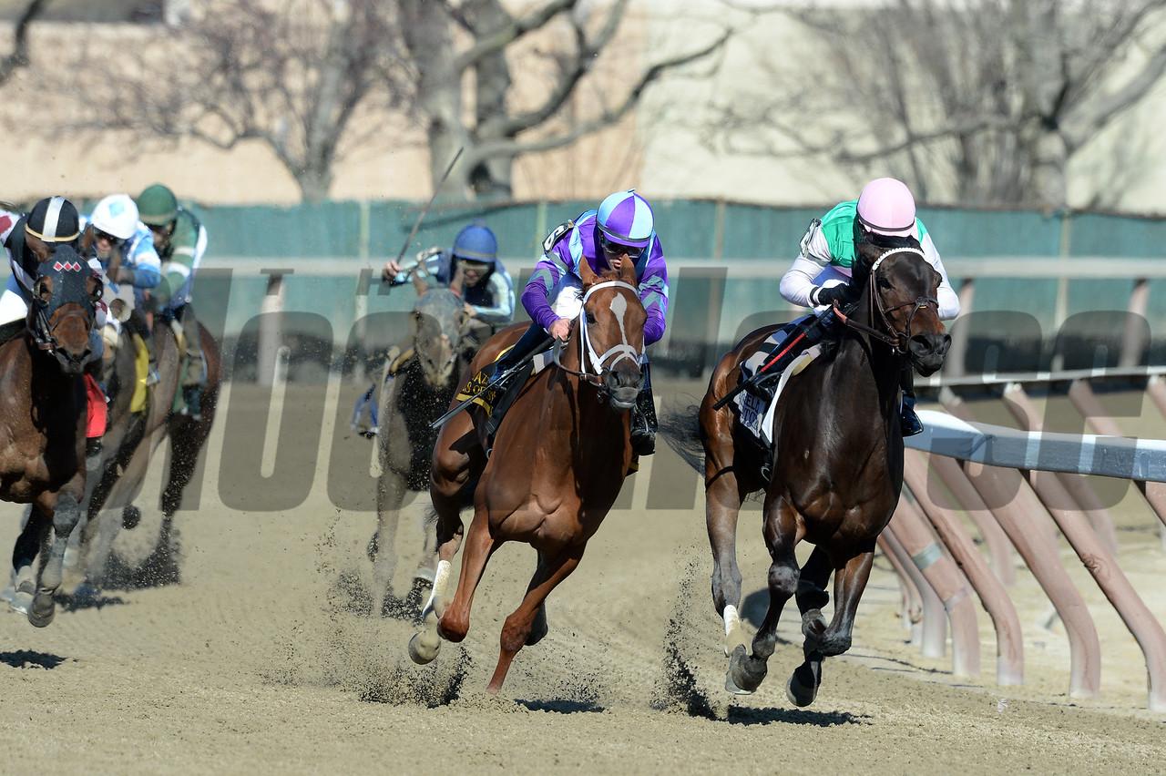 Close Hatches defeats Princess of Sylmar in the Gazelle Stakes.<br /> Coglianese Photos
