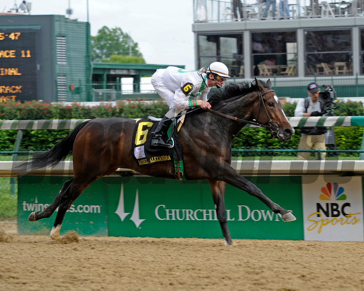 Caption:  Rachel Alexandra with Calvin Borel up wins the Kentucky Oaks (gr. I) at Churchill Downs near Louisville, Ky. on May 1, 2009.<br /> 11-Oaks-1  image568<br /> photo by Anne M. Eberhardt